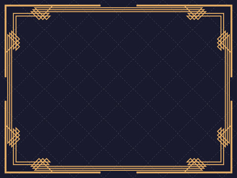 Art deco frame. Vintage linear border. Design a template for invitations, leaflets and greeting cards. Geometric golden frame. The style of the 1920s - 1930s. Vector illustration