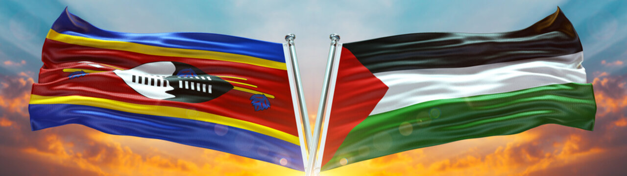 Double Flag palestine فلسطين and Swaziland flag waving flag with texture sky Cloud and sunset