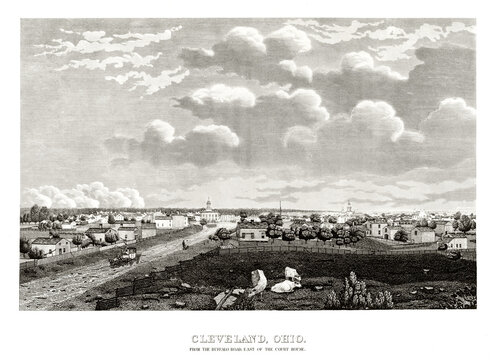 Old view of Cleveland, Ohio, from Buffalo Road to horizon. Highly detailed vintage style gray tone illustration by unidentified author, U.S., 1834
