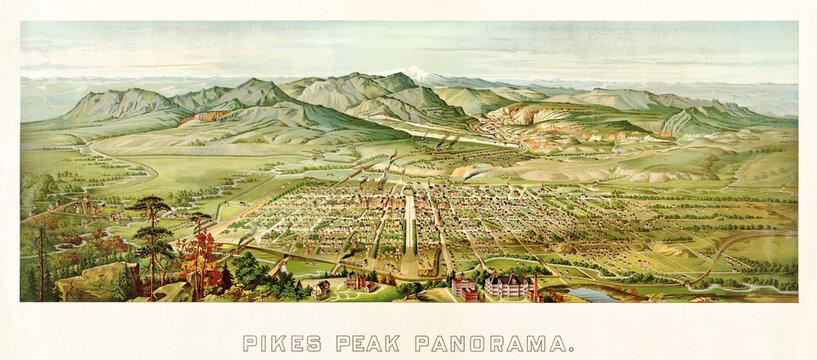 Overall large Pikes Peak panorama illustration, Colorado, horizontal arranged with vintage text. Highly detailed vintage style color illustration by Kollner, U.S., 1850