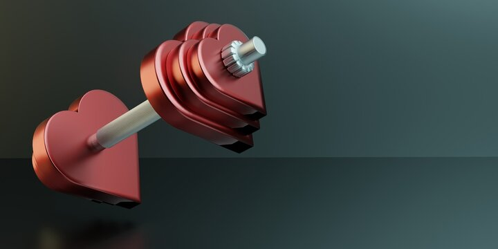 Athletic dumbbell made from red hearts. Fitness center advertising template. Copy space. 3d illustration