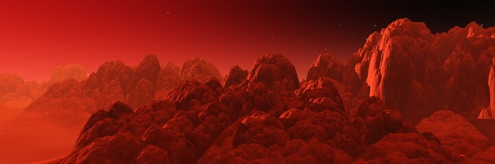 Martian landscape, surface of Mars at sunset, panorama of Mars, alien landscape,, 3d rendering