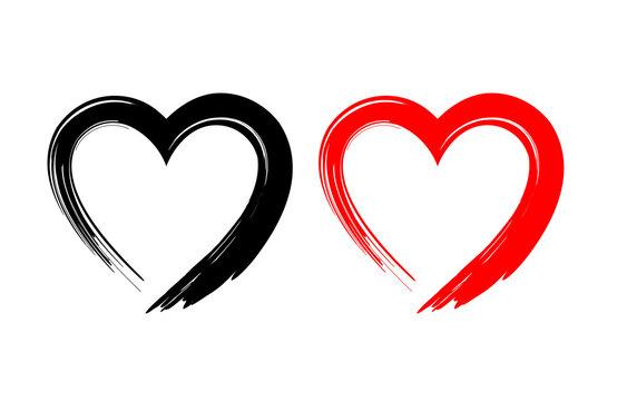 Black and red heart shape. Design for love symbols. Brush style. vector Illustration.
