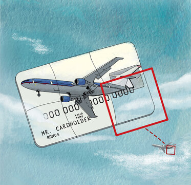 Bonus miles. Bank card with an airplane puzzle. Illustration on watercolor paper texture background