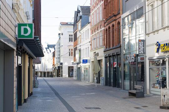 Leere Innenstadt von Minden, NRW, Deutschland während der Corona-Pandemie am Tag des 22. März 2020