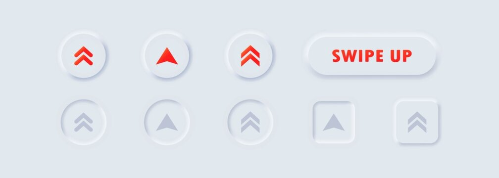 Swipe up, arrow up buttons. Text swipe up. Social media concept. UI icons set. Swipe up icon. Vector. Neumorphic UI UX white user interface web buttons