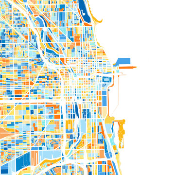 Art map of Chicago, UnitedStates in Blue Orange
