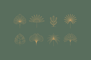 Fototapeta Vector set of linear boho icons and symbols - floral  design templates - abstract design elements for decoration in modern minimalist style obraz