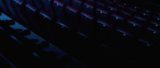 Fototapeta Close up shot of cinema seats in an empty movie theater