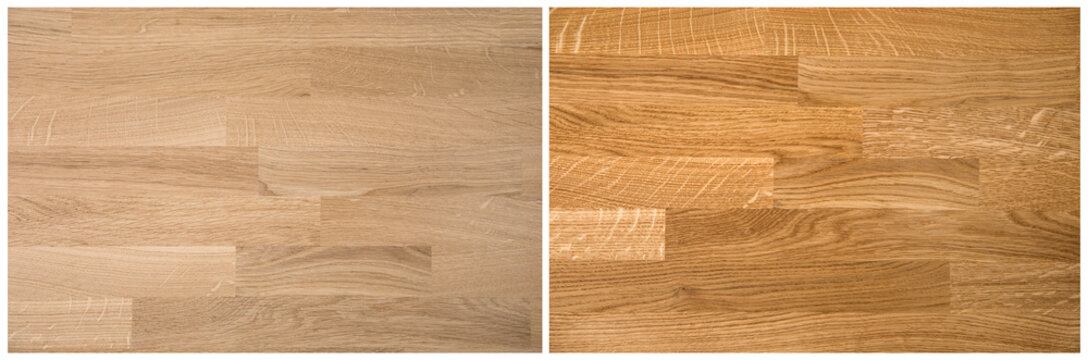 Natural color oak tree wood board kitchen countertop unprocessed before on left and after oiling processed after on right. Home renovation construction business concept.