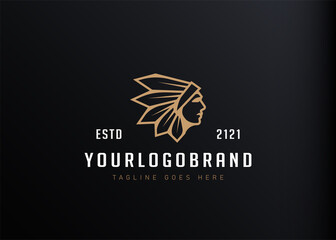 Indian warrior logo design inspiration. Vector illustration of a profile of Native American Indian soldier with war head feather decoration. Modern vintage icon design template with line art style.