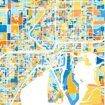 Art map of Tampa, UnitedStates in Blue Orange