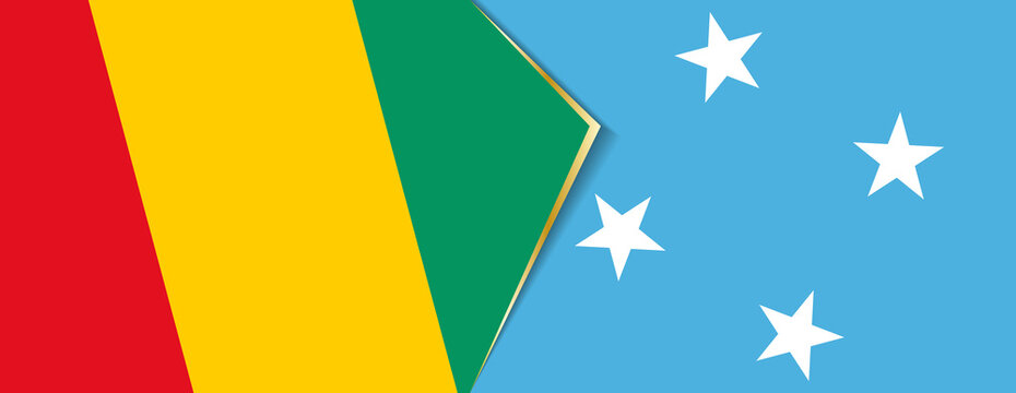Guinea and Micronesia flags, two vector flags.