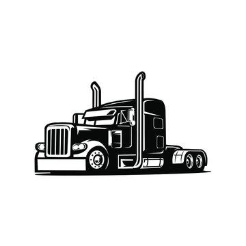 Truck silhouette, semi truck images, semi trailer, 18 wheeler vector image illustration