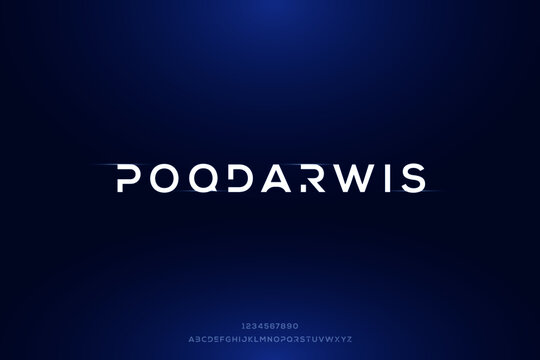 Poqdarwis, simple elegant alphabet letters. premium typography uppercase outer space vector illustration