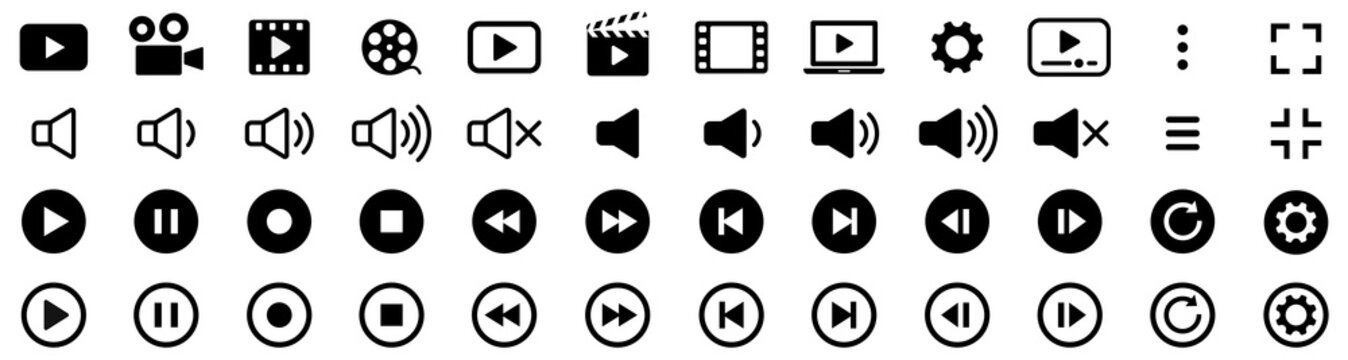 Media player icons collection. Video player icons. Cinema icon. Vector