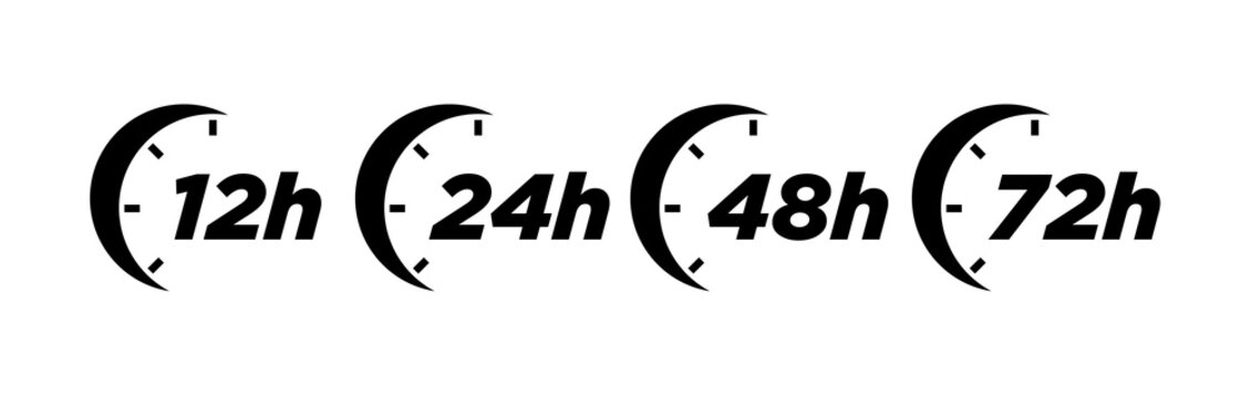 12, 24, 48 and 72 hours clock arrow vector icons.