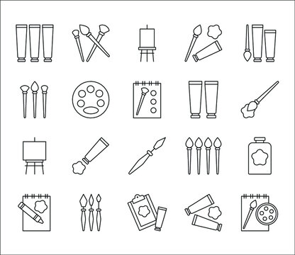 Painting art and paint materials icons hand drawn vector symbols