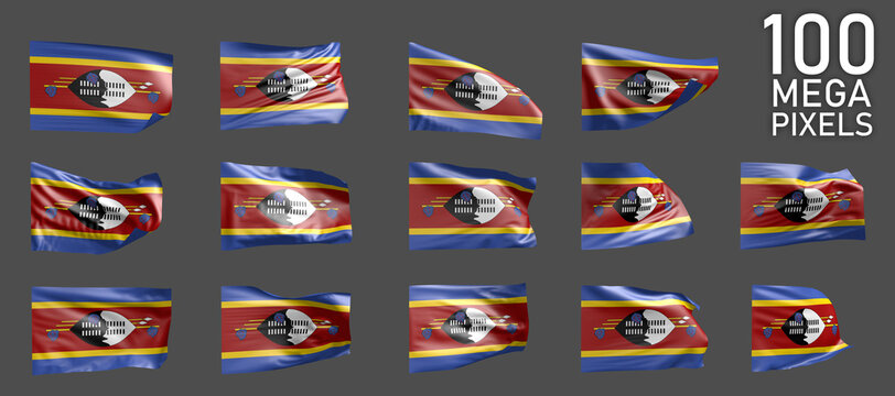 14 various pictures of Swaziland flag isolated on grey background - 3D illustration of object