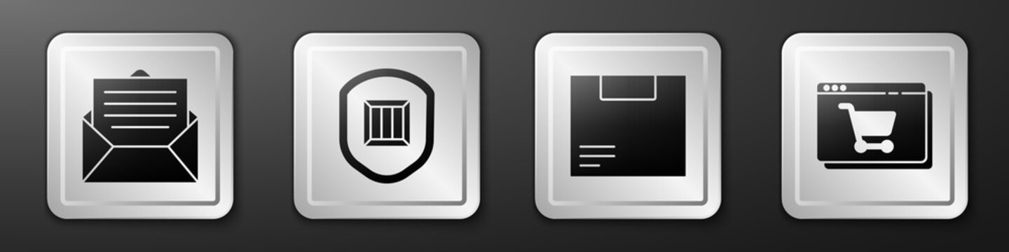 Set Envelope, Delivery security with shield, Carton cardboard box and Online shopping on screen icon. Silver square button. Vector.