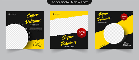 Wall Mural - Simple Food Instagram post template design. Suitable for Social Media Post Restaurant and culinary Promotion