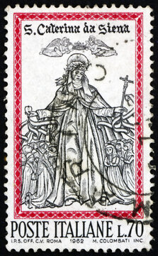Postage stamp Italy 1962 St. Catherine of Siena, woodcut
