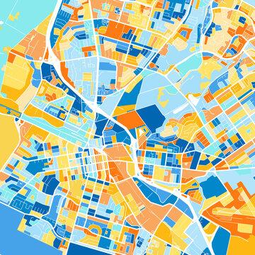 Art map of Salinas, UnitedStates in Blue Orange