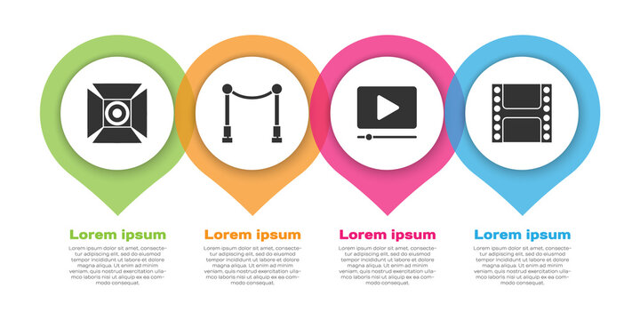 Set Movie spotlight, Carpet with barriers, Online play video and Play Video. Business infographic template. Vector.
