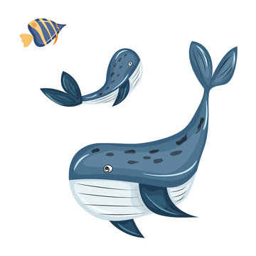 set of marine animals isolated on a white background - whale, killer whale, fish. cartoon style. vector illustration, eps