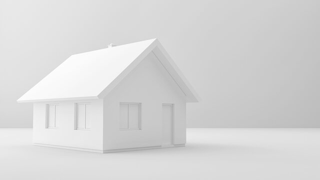 3D render visualization with house for real estate offer, abstract background, clay color simple mockup for advertising product, shades, grey and white colors, for sale, perspective view