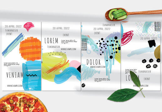 Social Media Layouts with Bright Abstract Strokes