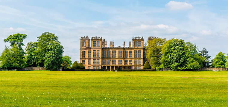 A view across the fields to Hardwick Hall, Derbyshire, UK on a sunny summer day