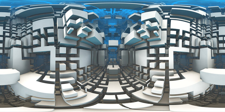 360 degree labyrinth, abstract maze background, equirectangular projection, environment map. HDRI spherical panorama