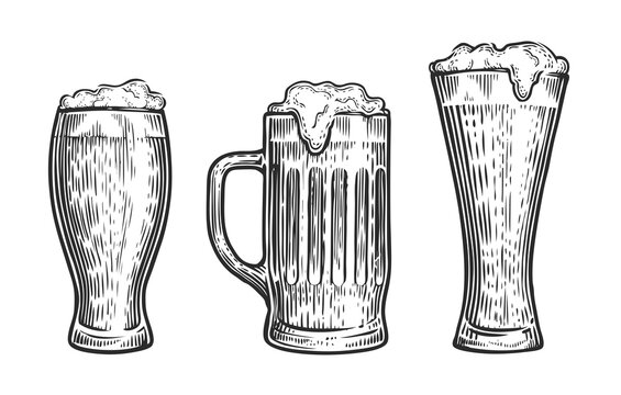 Vector set of beer glasses and mugs. Sketch vintage vector isolated on white