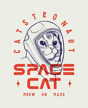 Astronaut cat in new American space x suit. Meow on Mars. Catstronaut typography t-shirt print.