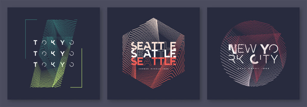 Set of abstract geometric t-shirt vector designs, graphic prints. Tokyo, Seattle, New York