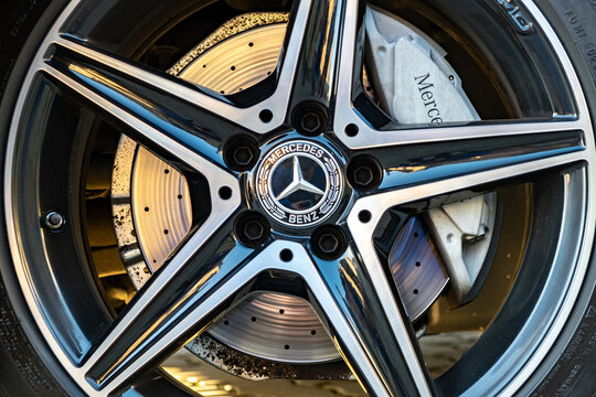 Frankfurt, Germany - September 27, 2020: Closeup of Mercedes Benz car wheels with Michelin tyres and light weight alloy rims.