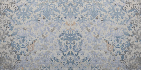 Obraz Old gray blue white rusty vintage shabby damask patchwork tiles stone concrete cement wall texture background - fototapety do salonu
