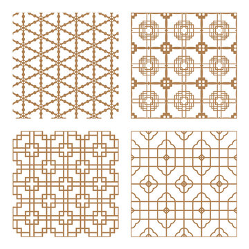 Set geometric asian abstract seamless vector pattern including traditional korean or chinese motive with typical lines and elements