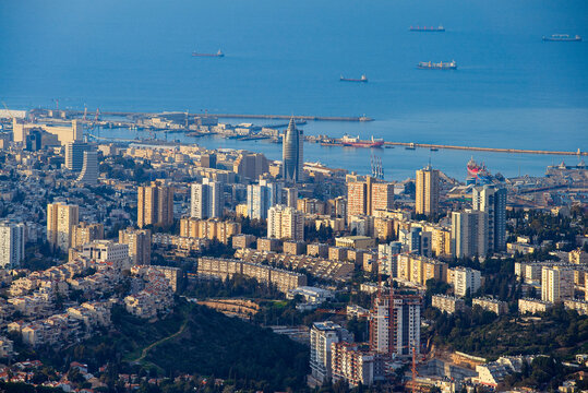 The Cityscape of Haifa At Sunset,  Haifa Downtown Aerial View, Israel