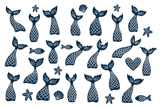 Set of vector mermaid's tail, fishes, starfishes, shells silhouettes.