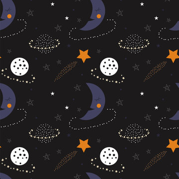 Seamless pattern of cute sleepy moons, planets, and stars on a black background