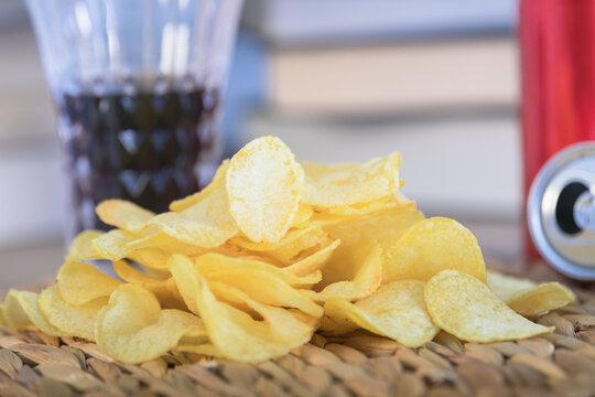 Closeup shot of a heap of crispy chips