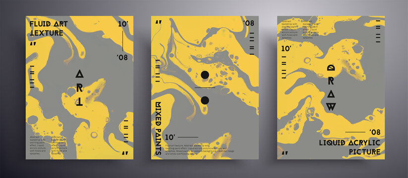 Abstract vector poster, texture set of fluid art covers. Artistic background that can be used for design cover, invitation, presentation and etc. Trendy colors of 2021 year - gray and yellow