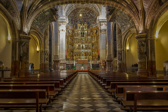 GRANADA, SPAIN - Jan 23, 2013: Interior of Royal Monastery of St. Jerome in Granada (Spain)