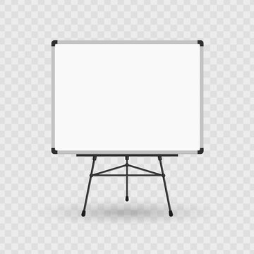 Whiteboard on a tripod. Billboard and business, education and empty space illustration. Blank presentation or projector roller screen isolated on transparent background. Vector EPS 10.
