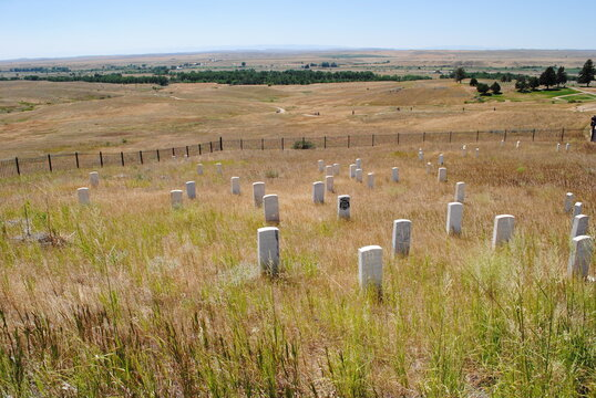 Little Bighorn, Montana: Casualty Markers dot the landscape at Little Bighorn Battlefield National Monument (or Custer's Last Stand), known to the American Indians as the Battle of the Greasy Grass.