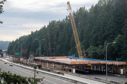 Light rail construction near Seattle along freeway