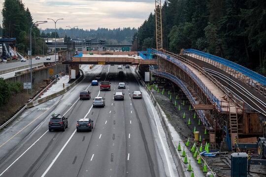 Light rail construction near Seattle along Interstate 5