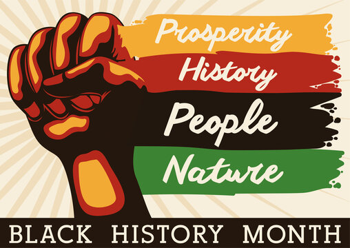 Fist and Brushstrokes with Precepts for Black History Month Celebration, Vector Illustration